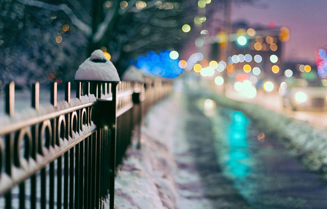 Photo wallpaper winter, macro, snow, trees, the city, lights, background, Wallpaper, the fence, blur, gate, the fence, …