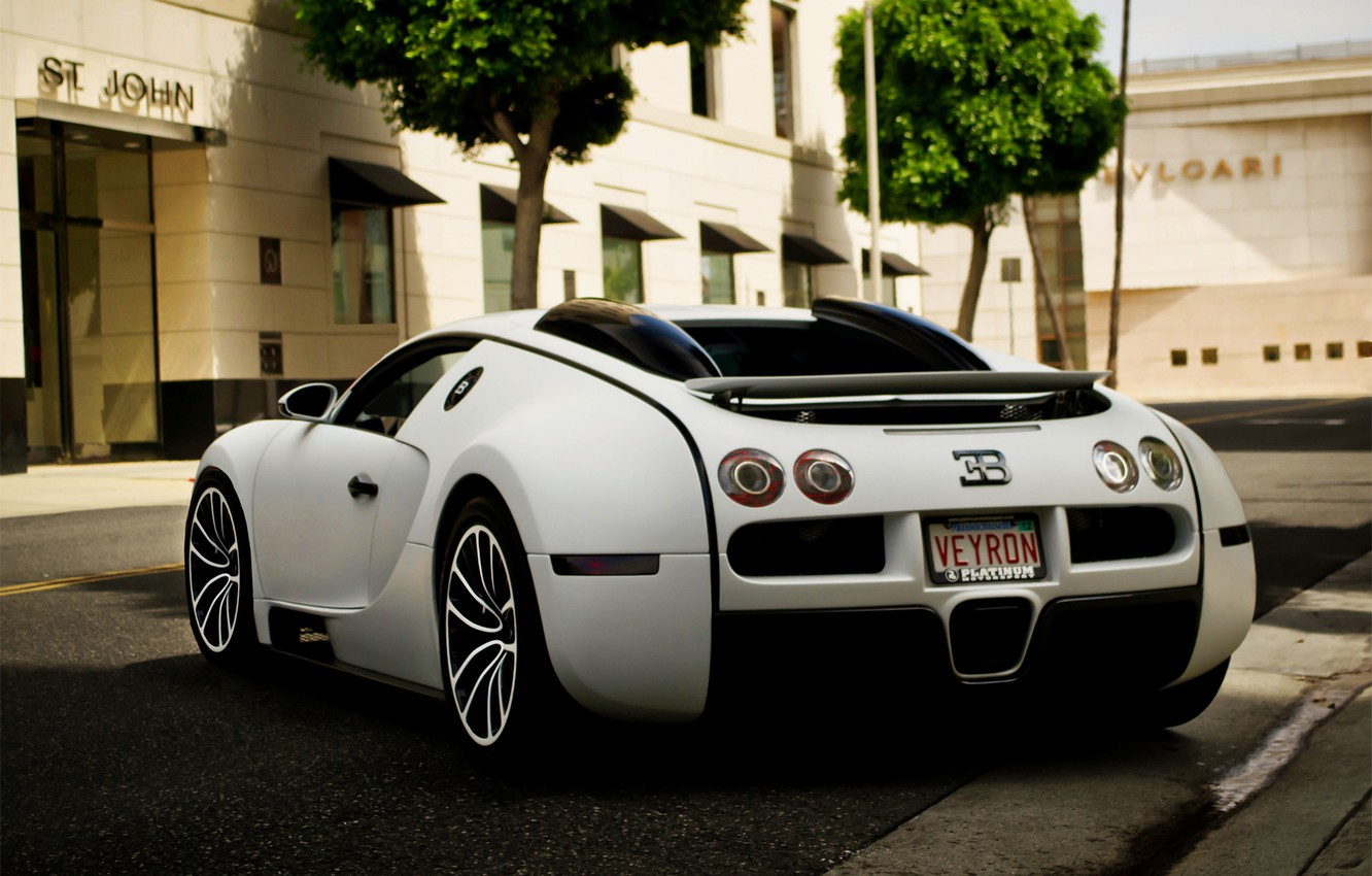 Photo wallpaper Auto, The city, Trees, Street, Bugatti, Machine, Veyron