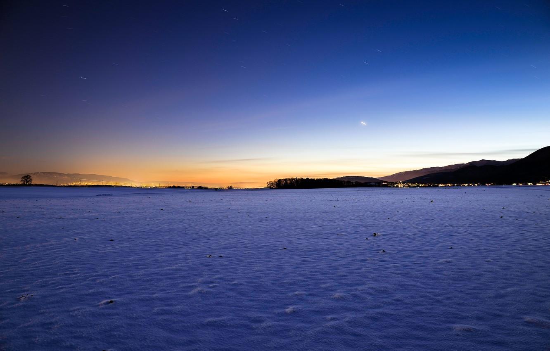 Photo wallpaper winter, the sky, the sun, stars, snow, landscape, sunset, nature, sky, landscape, nature, sunset, winter, …