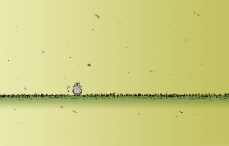 Photo wallpaper grass, animal, microphone, is, totoro, thick, Totoro, freak