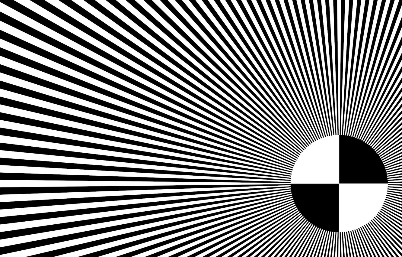 Photo wallpaper rays, abstraction, white, black, round, hallucination, illusion
