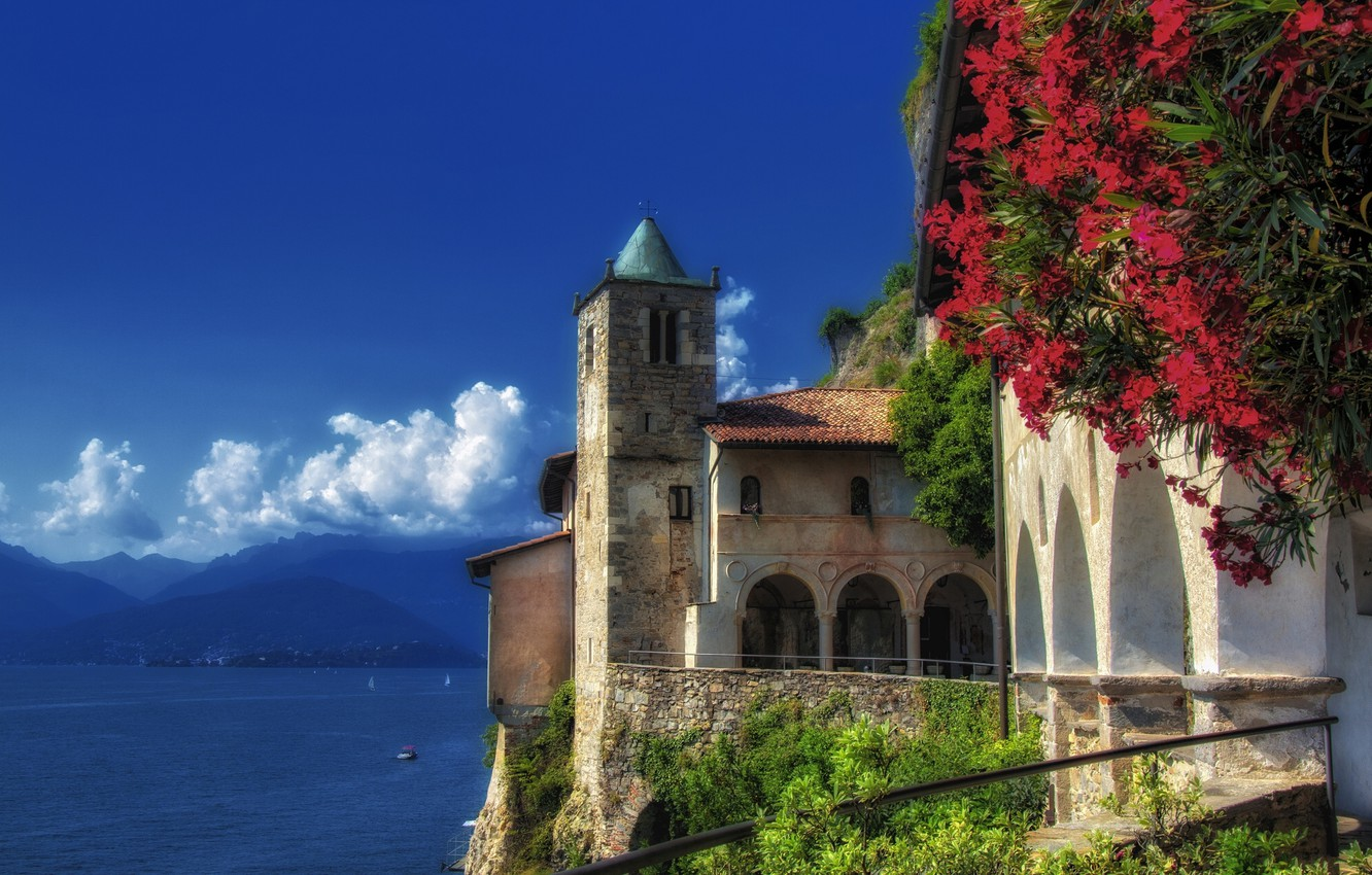 Photo wallpaper mountains, Italy, Italy, Leggiuno, Lombardy, Lake Maggiore, Lombardy, lake Maggiore, Leggiuno, The monastery of Santa …