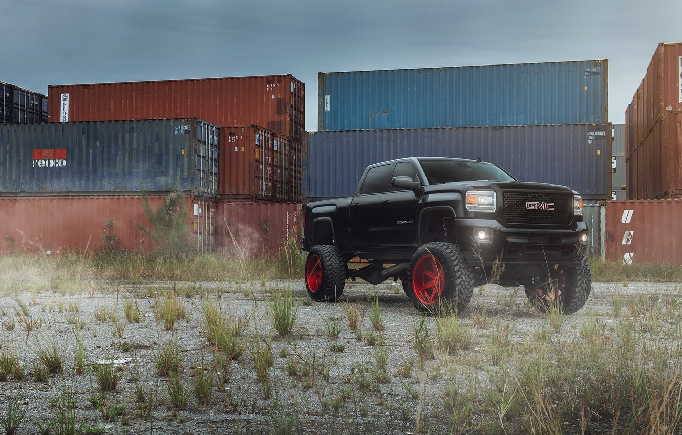 Photo wallpaper car, tuning, SUV, black, pickup, GMC, Denali, 2500