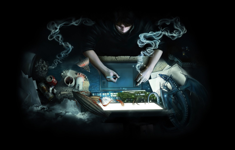 Photo wallpaper computer, paper, fantasy, dragon, smoke, coffee, beer, antenna, mouse, cigarette, the airship, mug, leaves, Bank, …