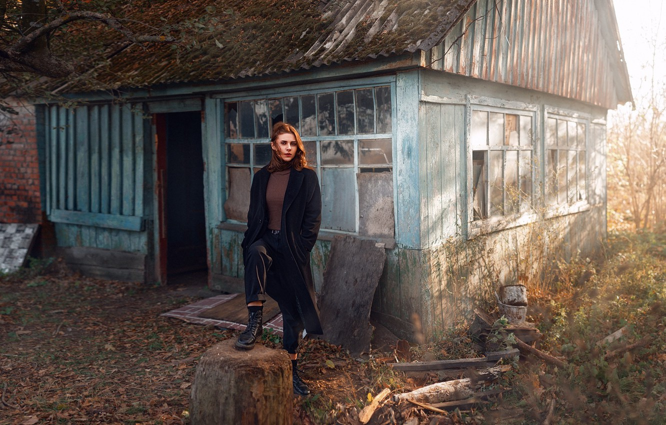 Photo wallpaper look, girl, house, model, portrait, shoes, the area, light, coat, Anna, young, autumn, abandoned, inspiration, …