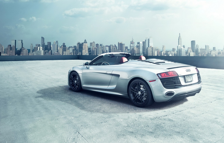 Photo wallpaper car, the city, Audi, Roadster, audi r8, New York