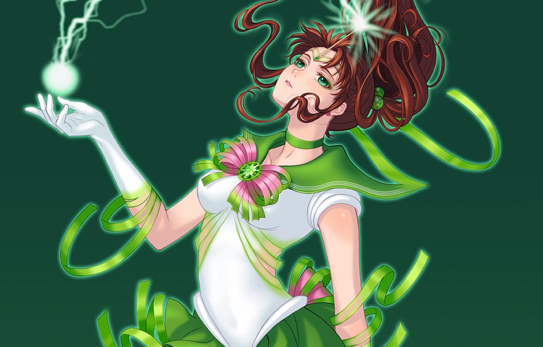 Photo wallpaper girl, green, lightning, form, sailor jupiter, Bishoujo senshi sailor moon, Kino Makoto