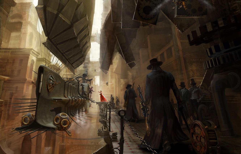 Photo wallpaper figure, steampunk, airship