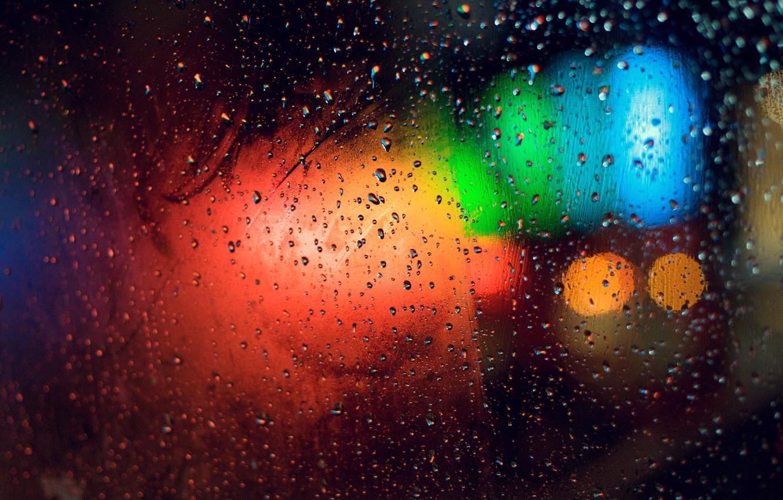 Photo wallpaper glass, color, drops, light, lights, glare, rain, divorce, brightness, misted