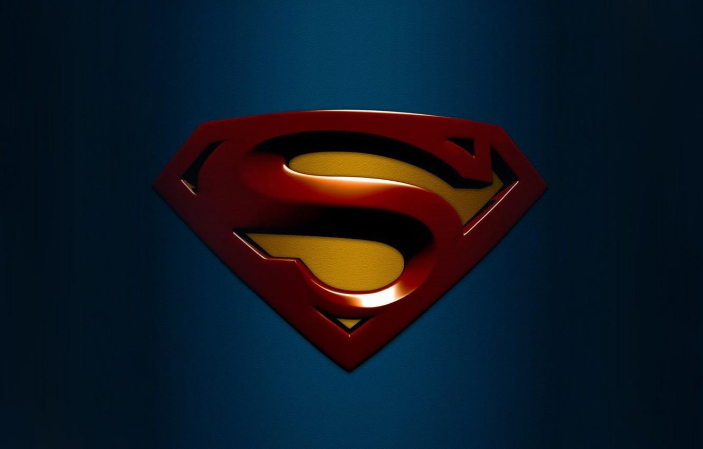 Photo wallpaper blue, background, Wallpaper, logo, picture, superhero, izobrazenie