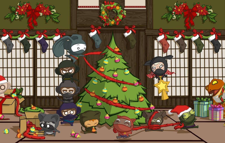 Photo wallpaper holiday, toys, Japan, tree, new year, Christmas, men, gifts, ninja, new year, merry christmas