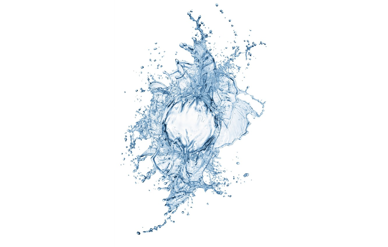 Photo wallpaper water, squirt, white background, water, white background, sprays