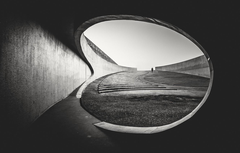 Photo wallpaper architecture, person, stairs, concrete