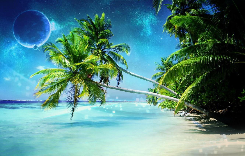 Photo wallpaper sea, palm trees, planet, Shore, Dreamy World
