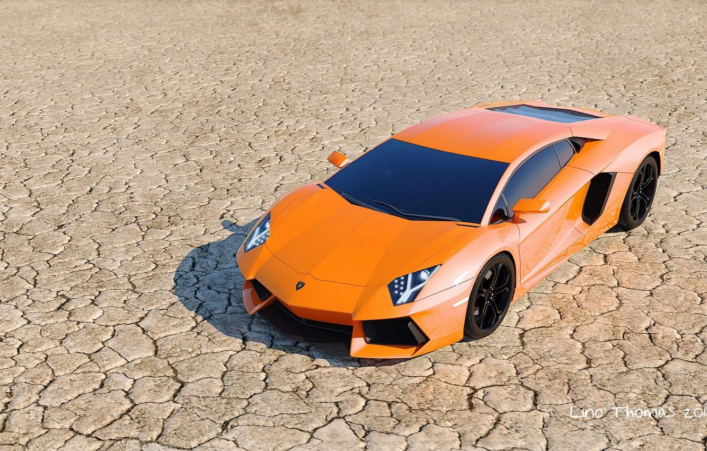 Photo wallpaper the steppe, desert, orange, drought, car, Lamborghini, aventador, Italian, lamborghini aventador lp700