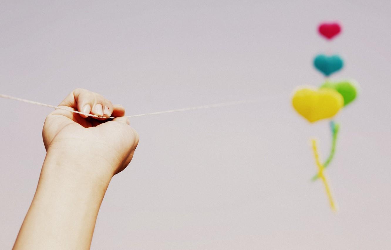 Photo wallpaper the sky, girl, background, balls, Wallpaper, mood, colored, hand, wallpaper, widescreen, balloons, background, full screen, …
