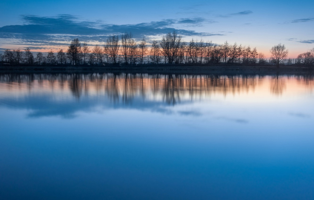 Photo wallpaper the sky, water, clouds, sunset, lake, surface, reflection, blue, silence, the evening, Trees, a number