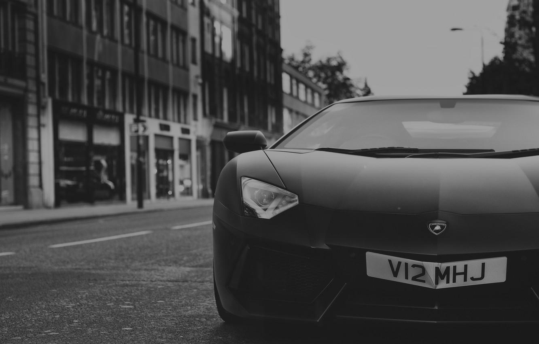 Photo wallpaper Lamborghini, Front, Black, Street, LP700-4, Aventador, Supercar