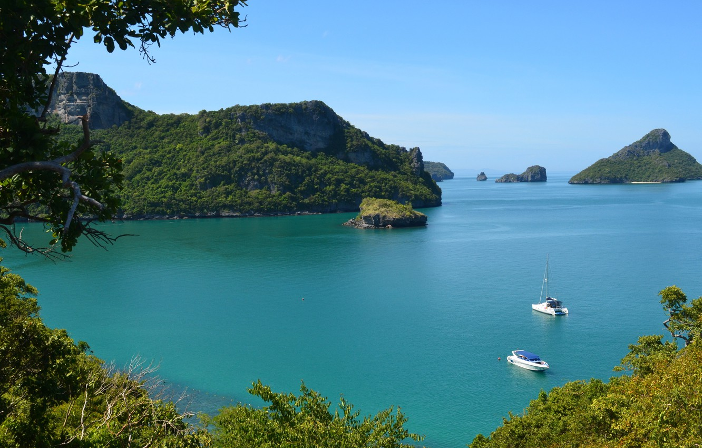 Photo wallpaper sea, trees, mountains, the ocean, boat, Thailand, catamaran, thailand, nature.