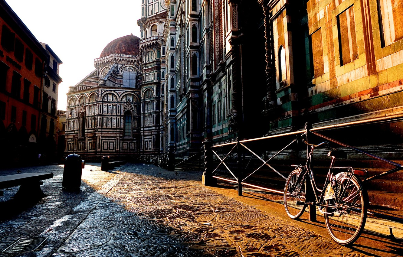Photo wallpaper bike, the city, sunrise, street, building, home, morning, fence, Italy, Florence, Italy, Tuscany, Florence, Toscana, …