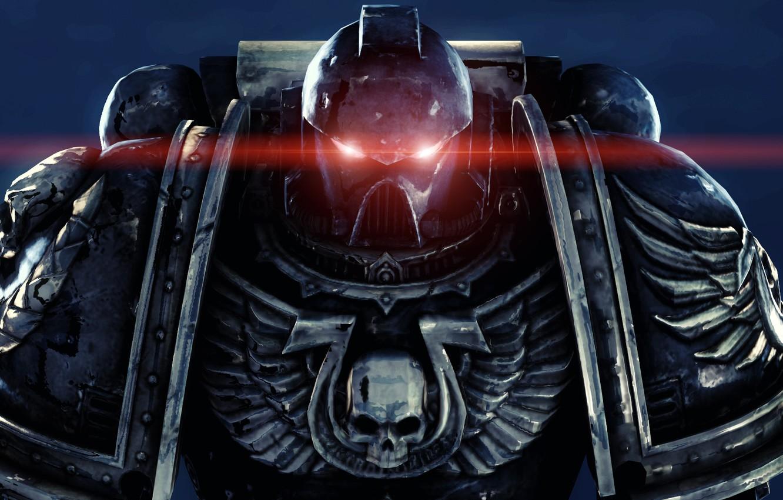 Photo wallpaper eyes, red, skull, wings, armor, helmet, armor, warhammer, space Marines, power, space marines, 40k, ultramarines, …
