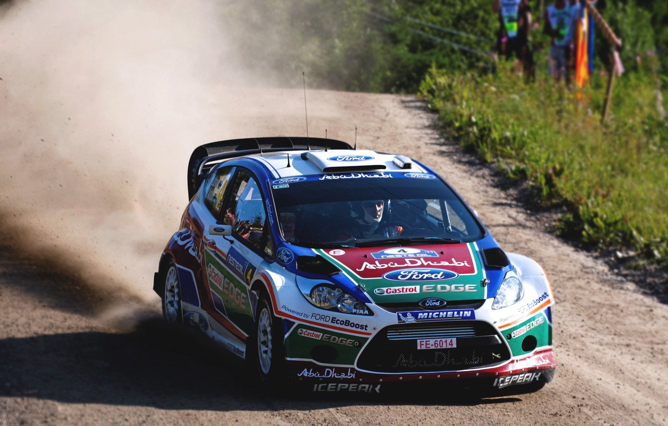 Photo wallpaper Ford, Auto, Dust, Sport, Machine, Ford, Race, The hood, Day, Lights, Heat, WRC, the front, …