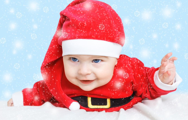 Photo wallpaper holiday, New Year, Christmas, Christmas, New Year, child, baby, santa, baby santa