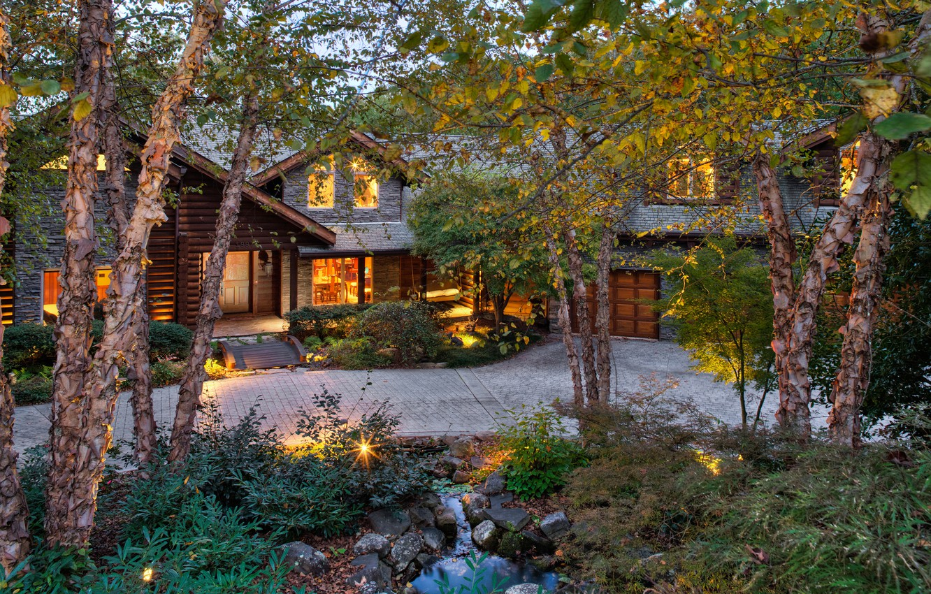 Photo wallpaper forest, trees, house, sofa, tree, stone, garage, exterior, beds.