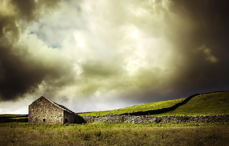 Photo wallpaper field, landscape, house