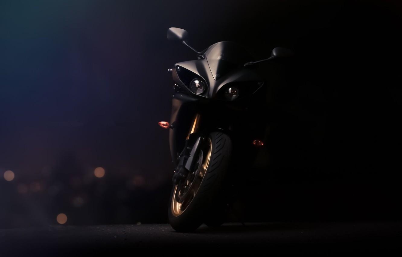 Photo wallpaper black, lights, motorcycle, Supersport, black, front view, yamaha, bike, Yamaha, supersport, yzf-r1
