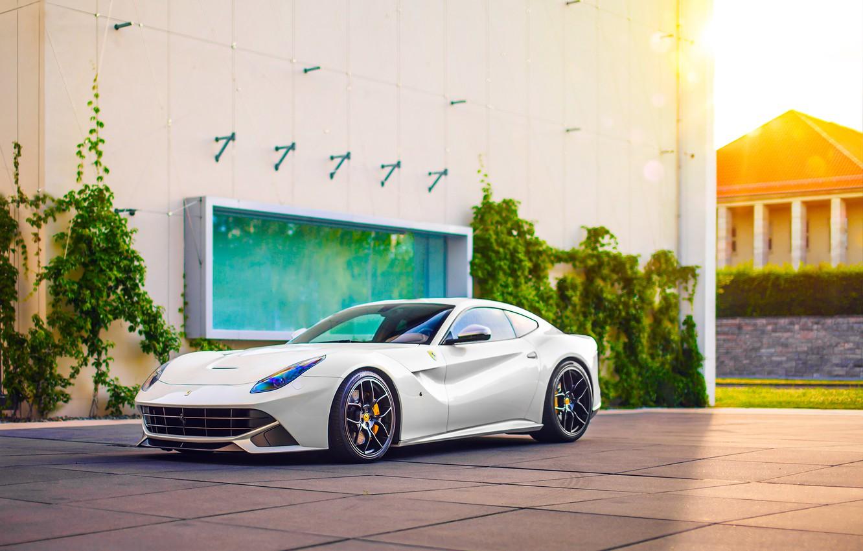 Photo wallpaper Ferrari, Car, Power, Front, Sun, White, Sport, Supercar, Berlinetta, F12, Wheels, Ligth