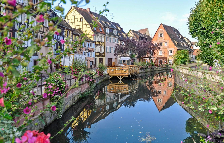 Photo wallpaper flowers, river, France, home, Colmar