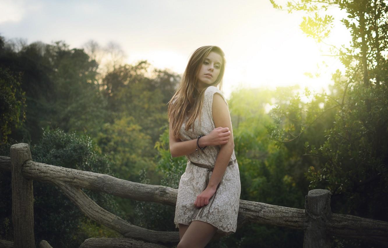 Photo wallpaper summer, leaves, girl, the sun, trees, pose, dress