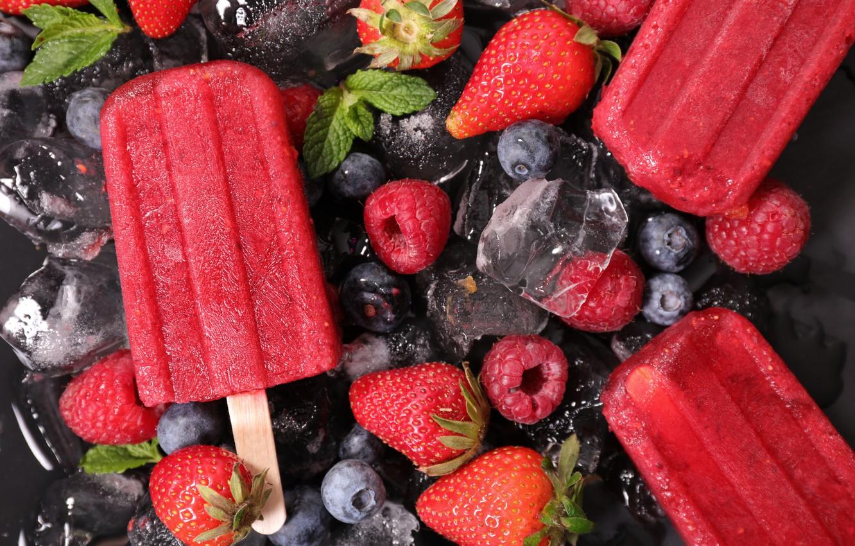 Photo wallpaper ice, berries, raspberry, blueberries, strawberry, ice cream, ice, sweet, sweet, ice cream, blueberries, strawberries, raspberries