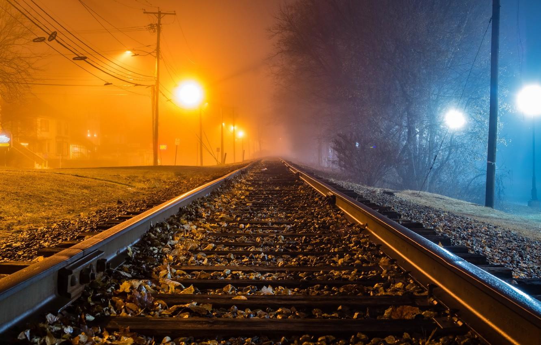 Photo wallpaper night, fog, railroad