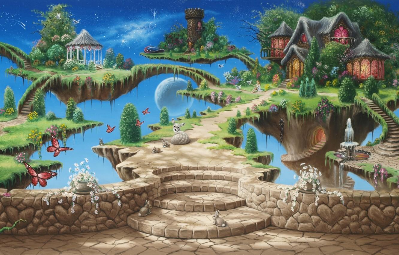 Photo wallpaper the sky, girl, trees, butterfly, flowers, birds, castle, tower, tale, stars, fantasy, art, fountain, house, …