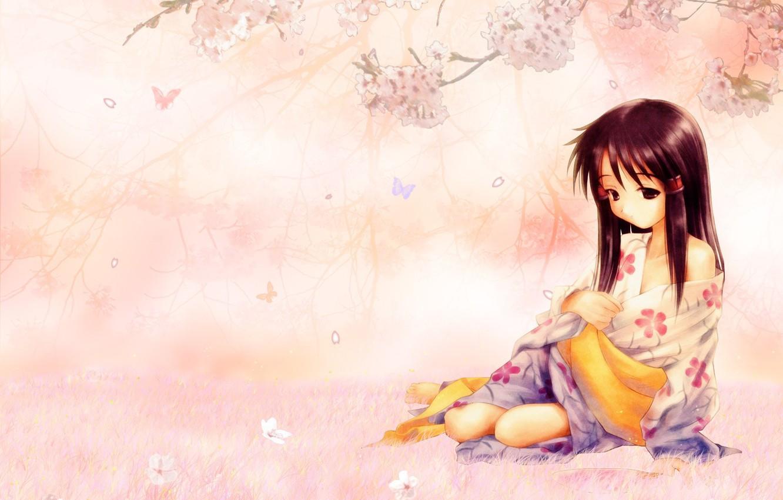 Photo wallpaper sadness, girl, flowers, mood, Sakura, kimono