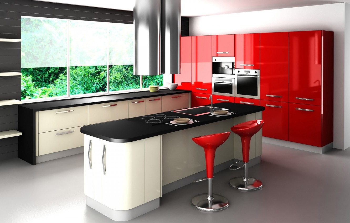 Photo wallpaper red, style, table, chairs, window, kitchen, headsets