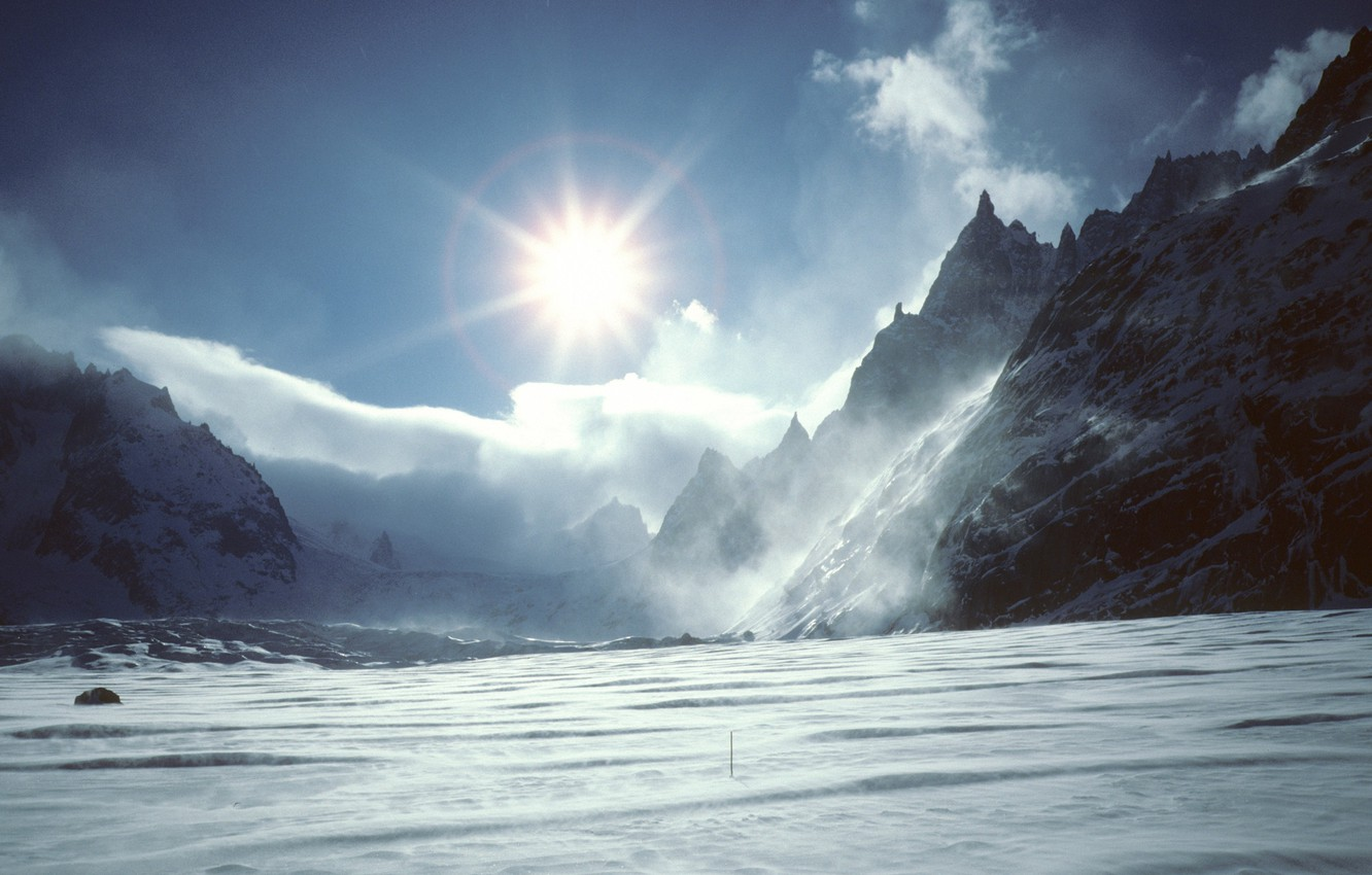 Photo wallpaper the sun, clouds, snow, mountains