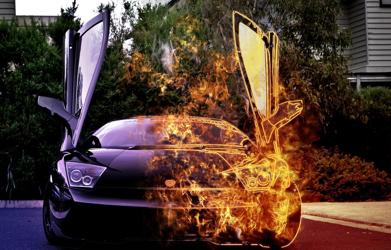 Photo wallpaper car, fire, lamborghini, burning
