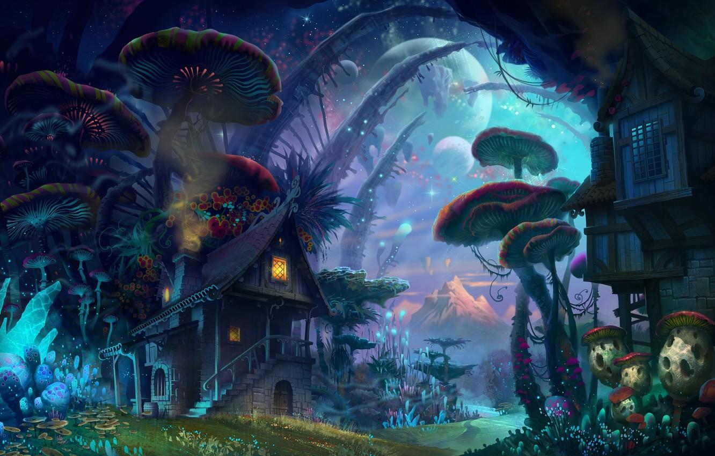 Photo wallpaper forest, the sky, light, house, the moon, mushrooms, mushroom, planet, Fantasy, Fiction