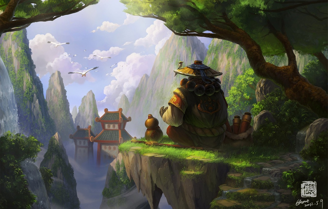 Photo wallpaper trees, birds, rocks, Asia, height, hat, art, Panda, stage, temple, World of Warcraft, Mists of …