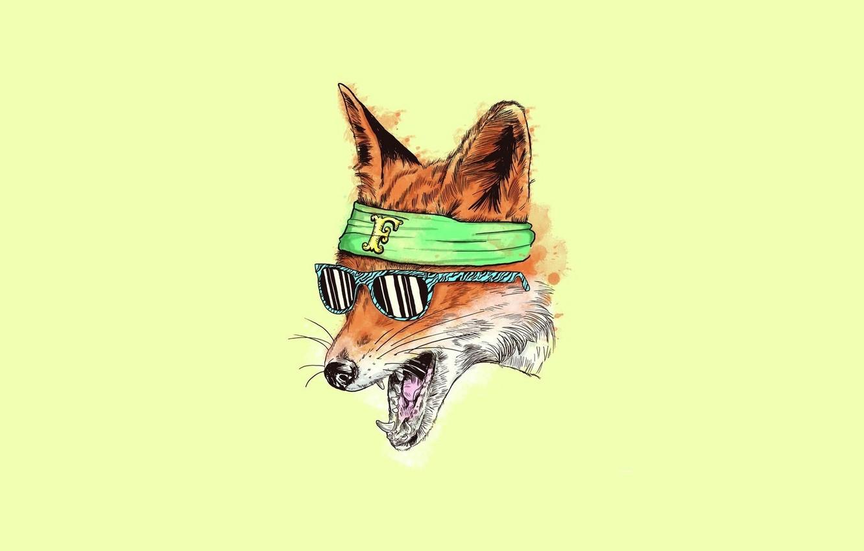 Photo wallpaper Minimalism, art, glasses, Fox, fox, yellow, art