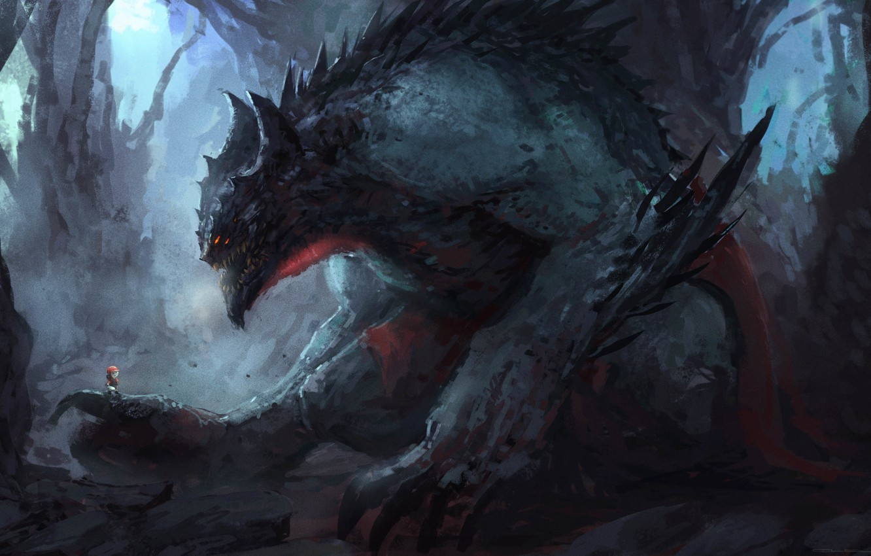 Photo wallpaper monster, art, spikes, monster, man, claws