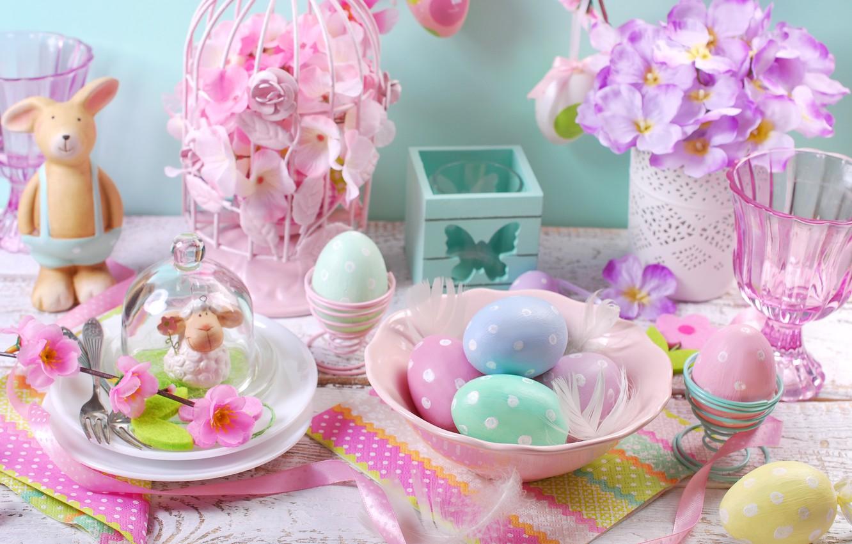 Photo wallpaper flowers, eggs, spring, Easter, flowers, spring, Easter, eggs, decoration, Happy