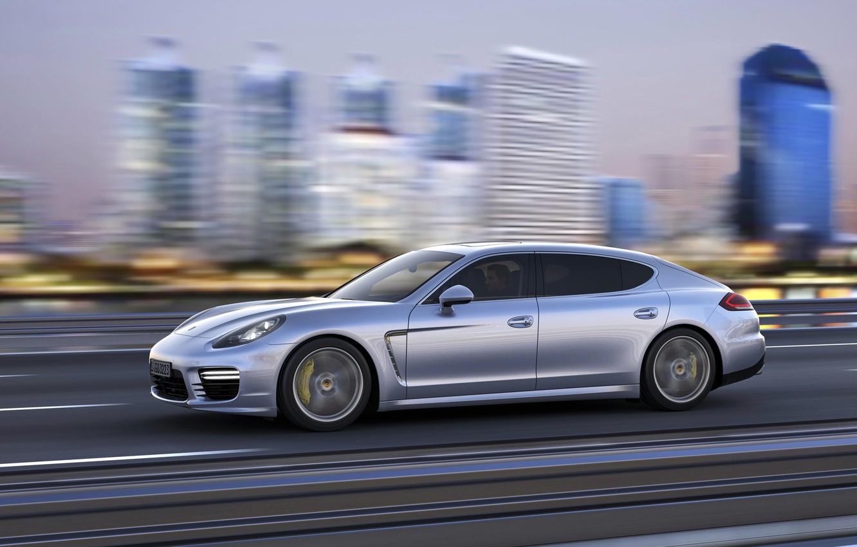 Photo wallpaper Auto, The city, Porsche, Machine, Grey, Panamera, Sedan, Side view, In motion