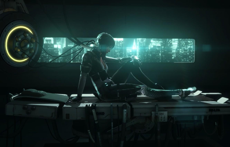 Photo wallpaper Girl, Lights, Look, Light, Cyborg, Nexon, Neople