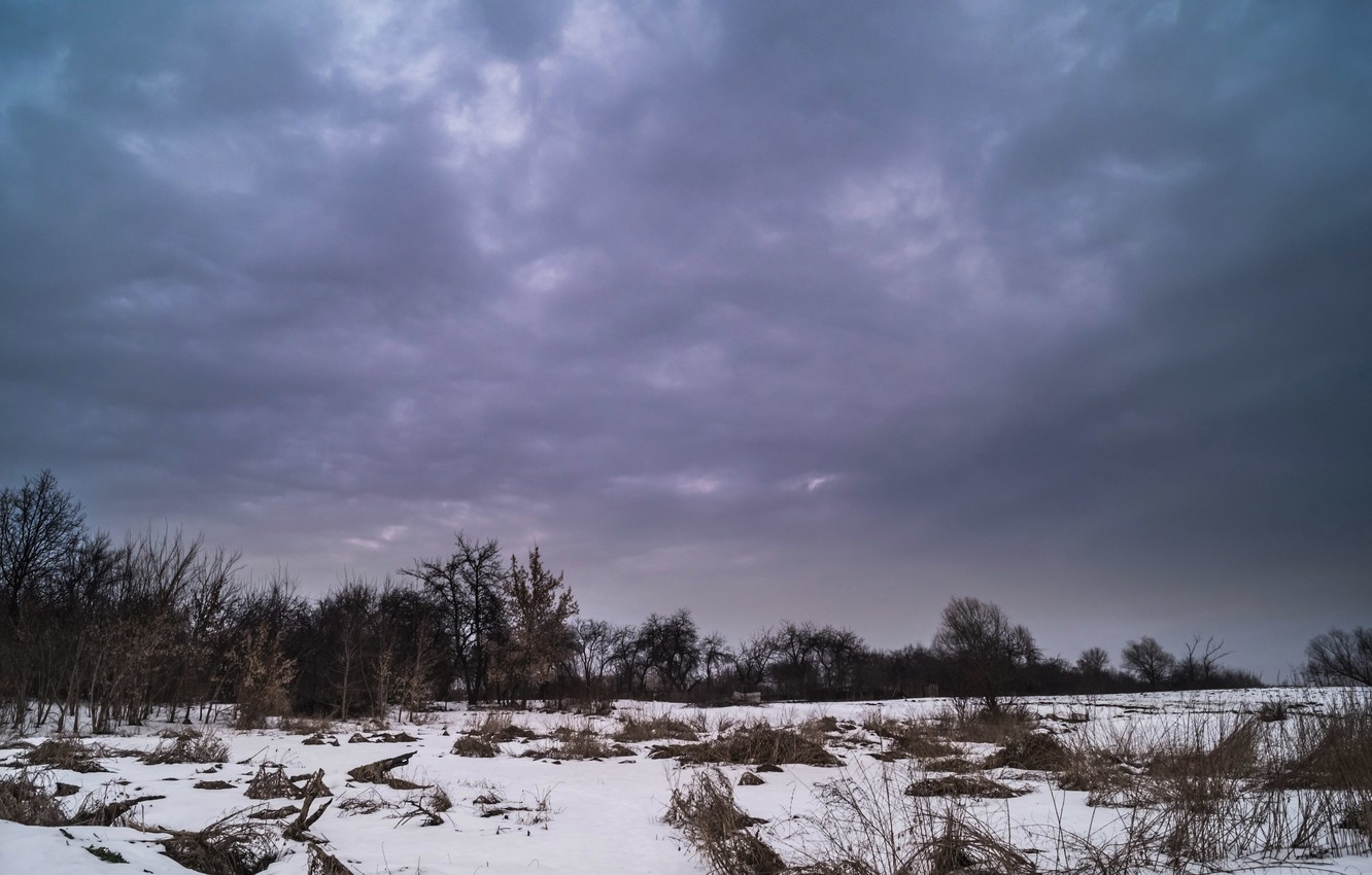 Photo wallpaper winter, the sky, clouds, the evening, blue
