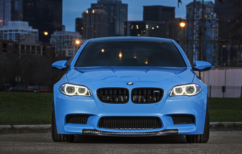 Photo wallpaper blue, BMW, BMW, the front, f10, running lights, Yas Marina Blue