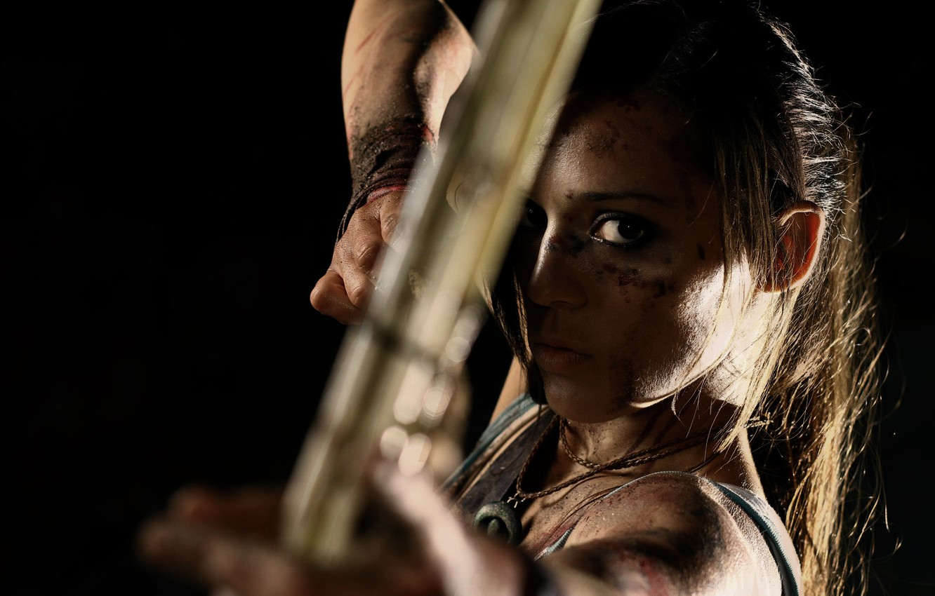 Photo wallpaper look, girl, face, weapons, bow, dirt, arrow, Tomb Raider, black background, lara croft, Charly Brusseau